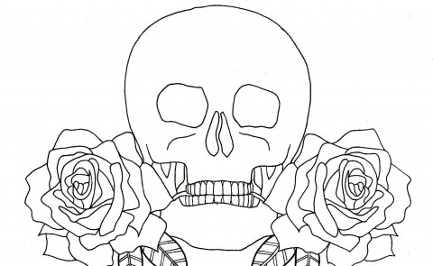 Skull Roses Line Drawing