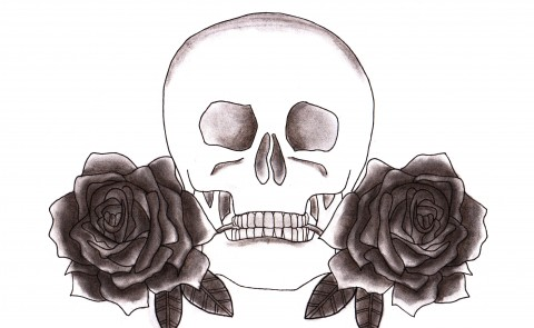 Skull & Roses Charcoal