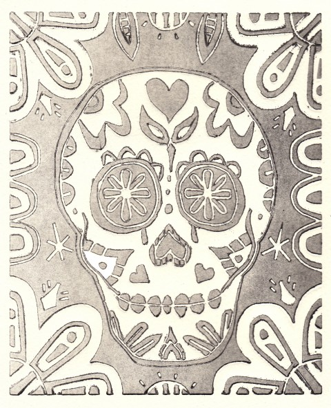 Black and White Faded Skull
