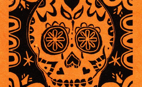 Orange and Black Skull