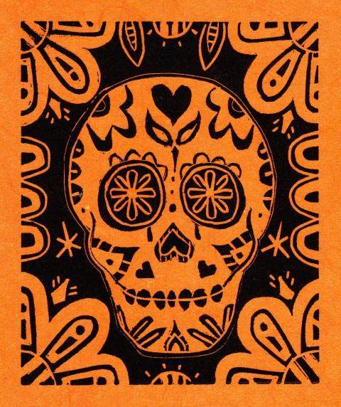Orange and Black Skull