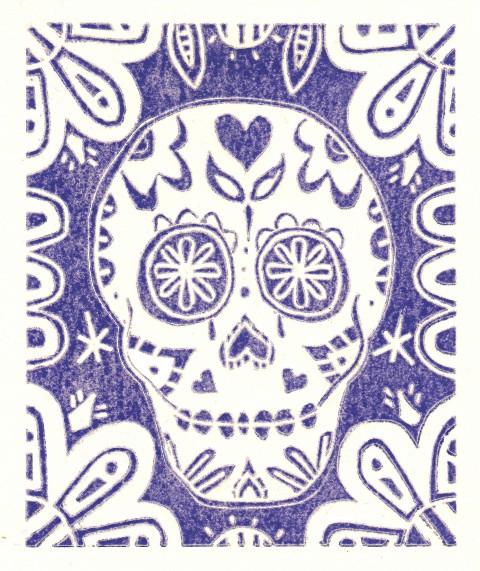 Skull Purple on White