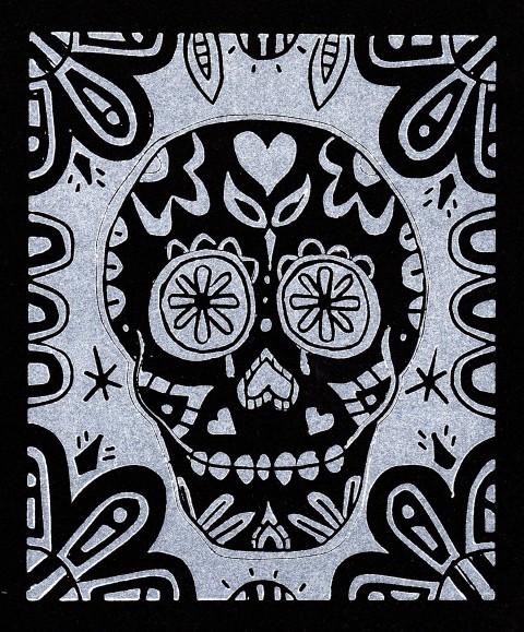 Skull White on Black